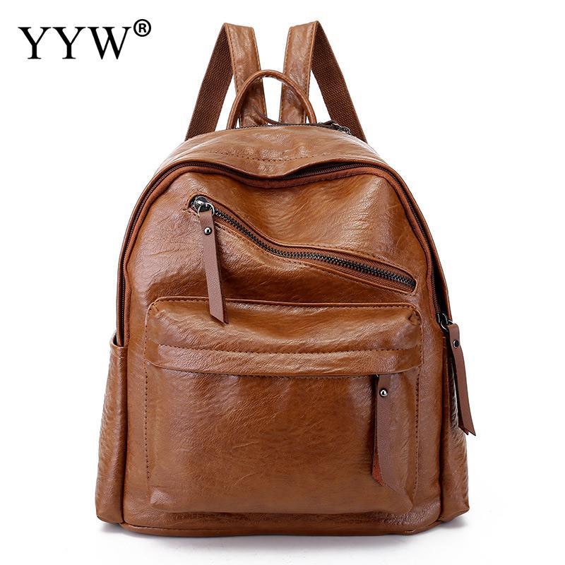 Travel Backpack Bag Women Bookbag High-Quality Pu Sewing-Thread Soft-Surface Lady