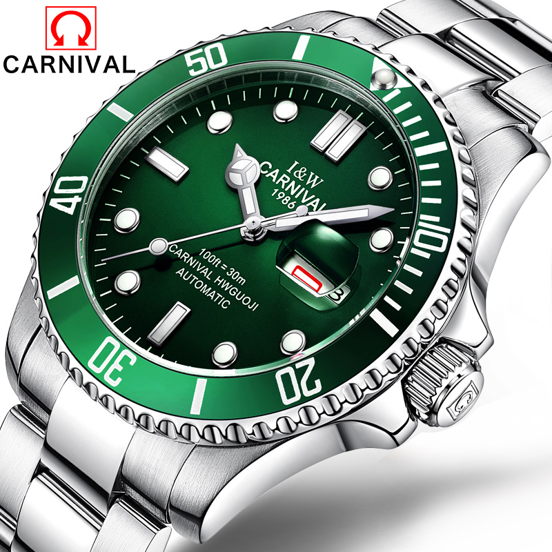 Carnival Man Automatic Mechanical font b Military b font Luminous font b Watch b font Rotatable