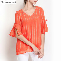 Summer Striped Chiffon Blouse Women Clothing Orange V neck Shirt Flare Half Sleeve Tops Fashion Plus Size 5XL 4XL 3XL 2XL XL L M