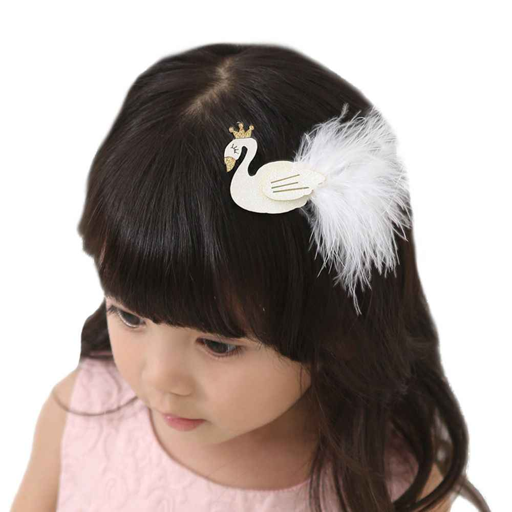 Brillo blanco/Negro clips para el pelo con forma de cisne con oro broche de corona con pluma princesa horquillas bebé niños accesorios para el pelo