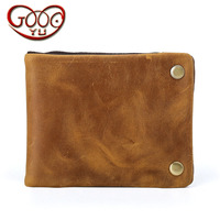 Vintage crazy horse leather short zipper buckle purse men's cross section first layer of leather wallet