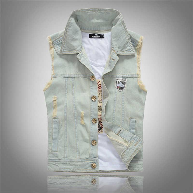 2019 новый высококачественный мужской джинсовый жилет Модный Топ пальто джинсы весна осень Винтаж 80 s Классический Дизайн Повседневная ковбойская одежда