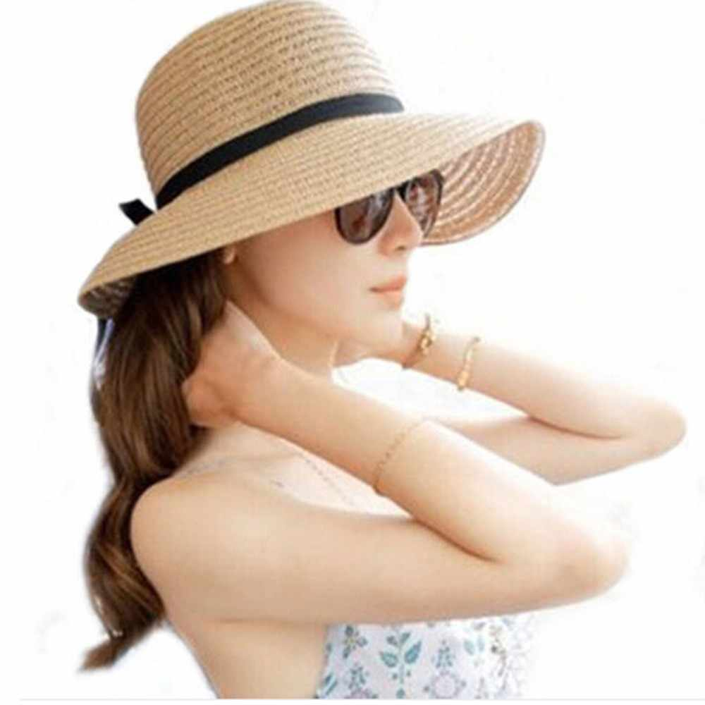 Floppy Opvouwbare Dames Vrouwen Stro Strand Zon SummerHat Beige Brede Rand Brede Rand Zomer Hawaiian Fashion Zonnehoed
