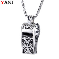 Retro Punk Stainless Steel Titanium Necklaces Whistle Pendant 2018 Men Jewelry New Arrived Statement Necklace With