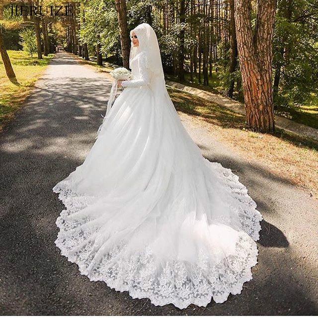 JIERUIZE White Lace Appliques Muslim Wedding Dresses With Hijab Long Sleeves High Neck Dubai Arabic Bride Dresses