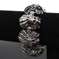 AMUMIU Casting Cool Punk skull Bracelet for Man Stainless Steel High Quality Heavy Fashion Biker jewelry HZB105