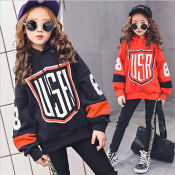 Girls Clothing Set Long Sleeve For Spring & Autumn Children Tracksuits For Girls Sport Suits Fashion Hooded Letters Twinset Set