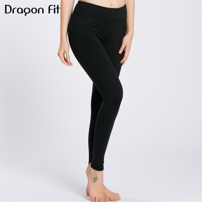 Dragon Fit New Black Running Quick Drying Compression Yoga Pants Women Fitness Elastic Leggings Breathable Sport Leggings