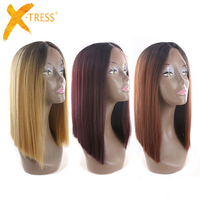 Ombre Black Blonde Red Color Short Bob Lace Front Synthetic Hair Wigs X TRESS Yaki Straight Middle Parting Blunt Wigs For Women