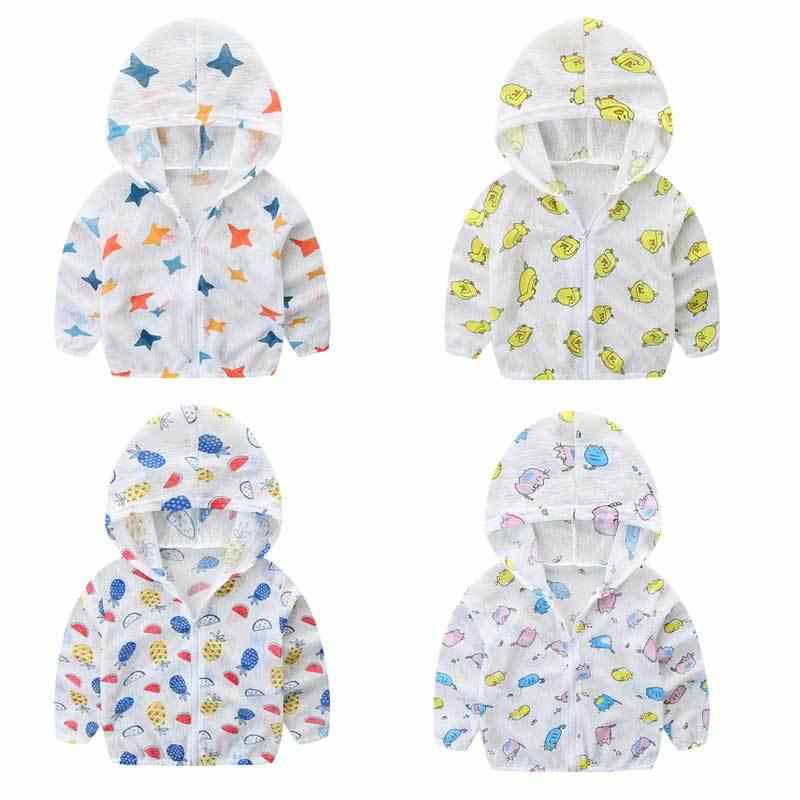 2019 летняя детская одежда с капюшоном и защитой от солнца детская верхняя одежда, куртка рубашка с длинными рукавами и рисунком для мальчиков и девочек