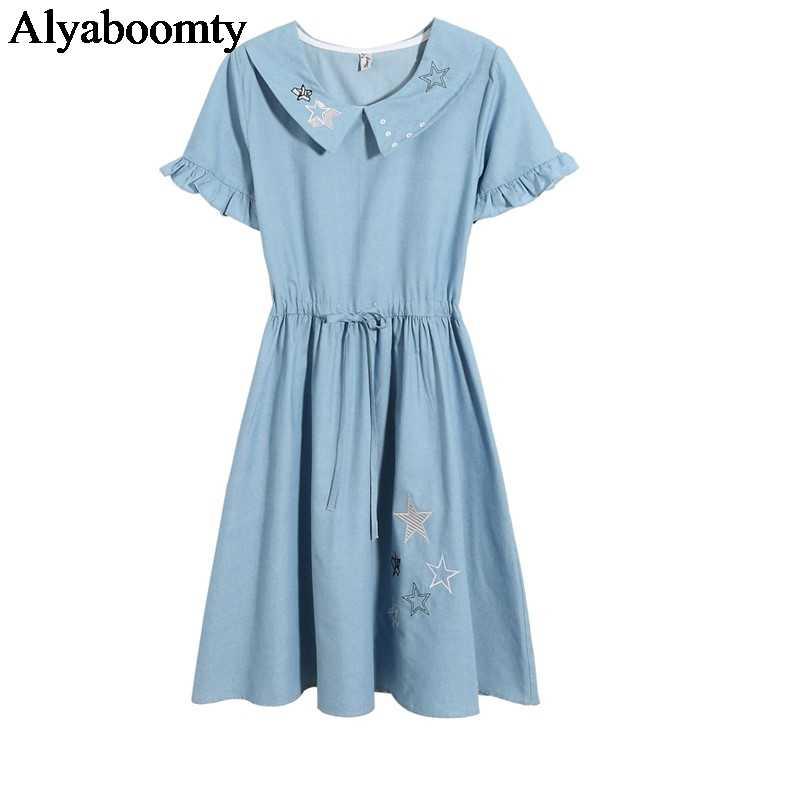 2019 японский Мори девушка летнее женское джинсовое платье Питер Пэн воротник вышивка звезды Милое Платье милое синее студенческое платье Kawaii