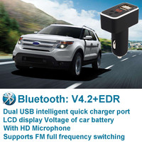 Wireless Bluetooth Car Kit MP3 Player FM Transmitter USB Charger LCD Mic For IPhone For Samsung