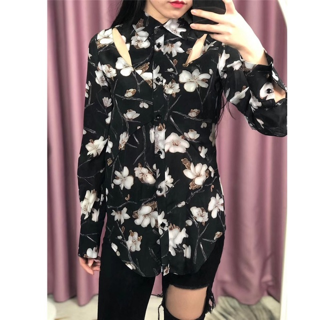 100% Silk Blouse Shirt 2019 Spring Summer Fashion Blouses Women Turn-down Collar Hollow Out Sexy Long Sleeve Vintage Tops Shirt