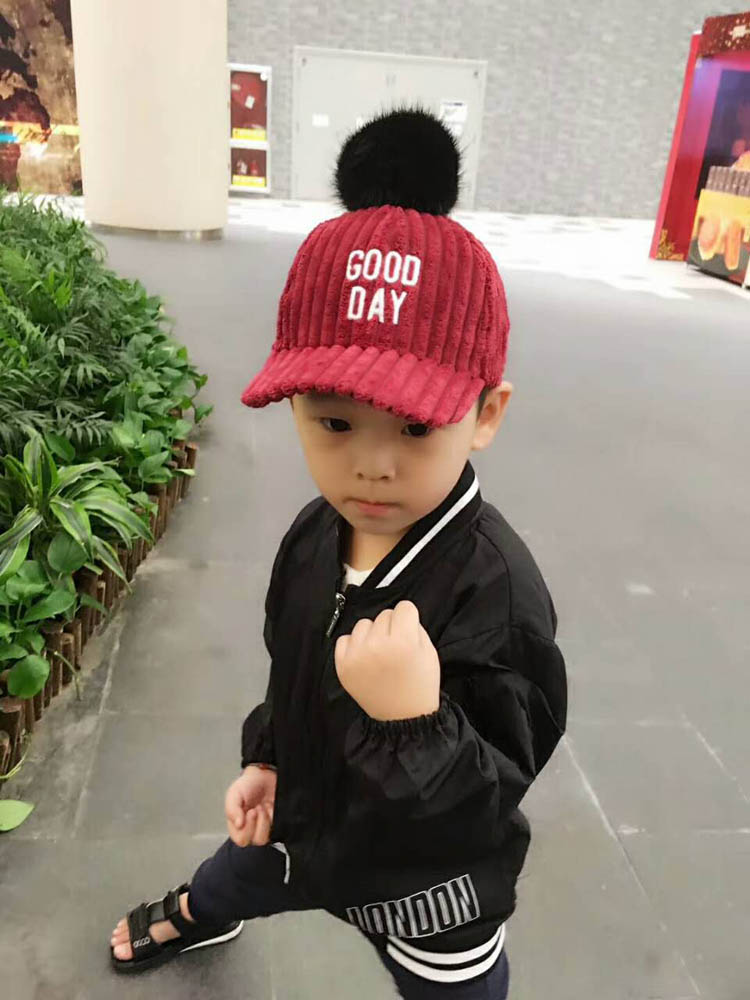 Composite Bats 2017 Children Hip Hop Baseball Cap Autumn black fur hairball kids Winter Hat Good Day Boys Girls snapback Caps for 2-7 years old