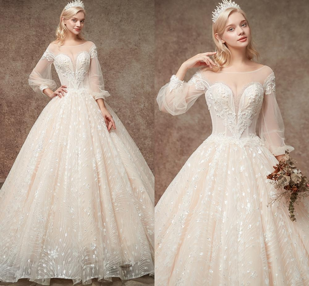 Elegant Champagne Sequins Ball Gown Wedding Dresses 2019 Beaded Fuffy Sleeves Bride Dress Wedding Gowns Vestido De Noiva