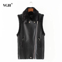 VGH Winter PU Patchwork Lambswool Sleeveless Waistcoats For Women Lapel Collar Tops With Pockets Thick Vest
