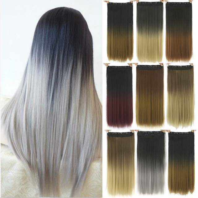 Soowee 60cm Long Straight Women Clip in Hair Extensions Black Brown High Tempreture Synthetic Hair Piece 2