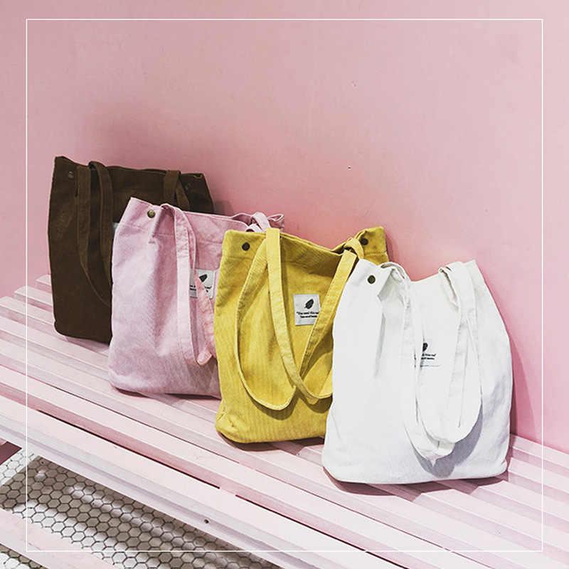 Large-capacity ladies bag corduroy handbag women's casual shoulder bag foldable reusable beach shopping bag Messenger bag