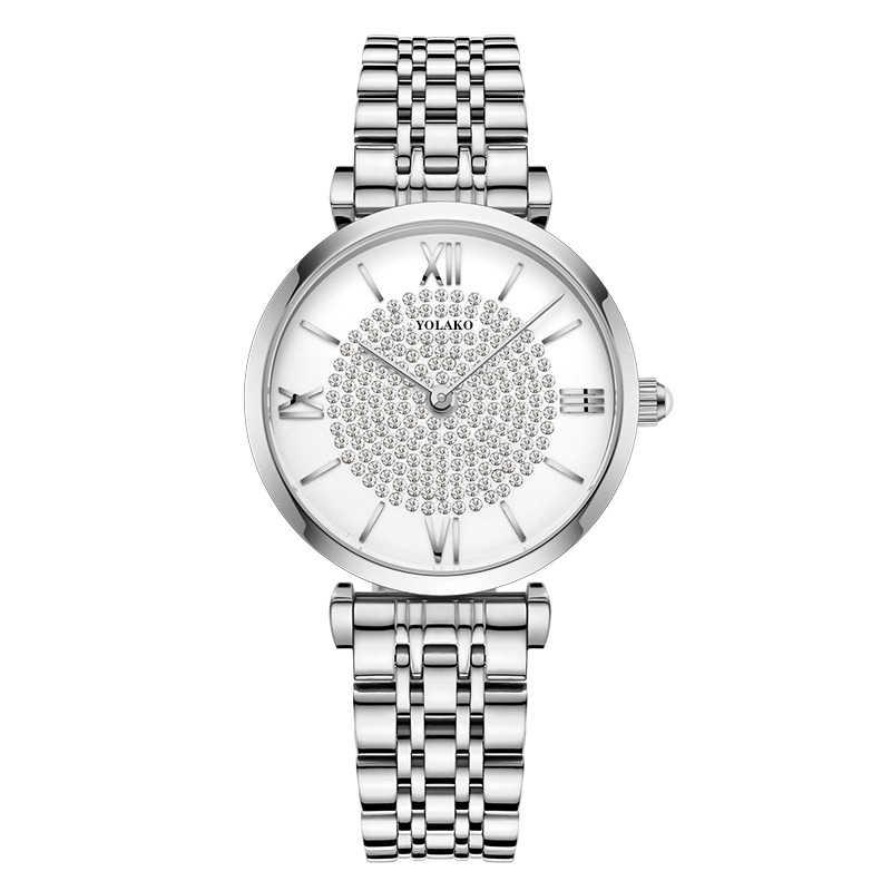 גיפסנית יהלומי עיצוב נשים שעונים אופנה כסף עגול חיוג נירוסטה בנד קוורץ שעון יד מתנות relogiosfeminino