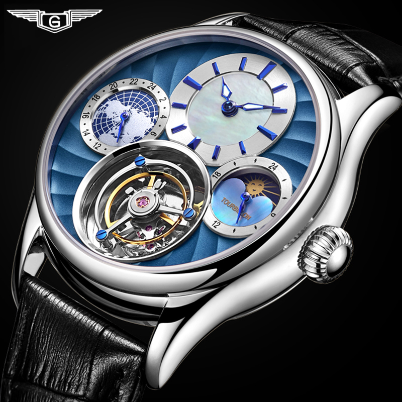 GUANQIN 2019 Real Tourbillon Mechanical Hand Wind Mens Watches Top Brand Luxury Skeleton Clock men Sapphire Relogio Masculino