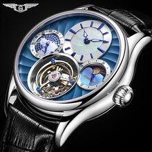 Guanqin 2020リアルトゥールビヨンメカニカルハンド風メンズ腕時計トップブランドの高級スケルトン時計男性サファイアレロジオmasculino