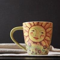 Бренд высокого качества подсолнечное пастырской декоративная кружка withhandgrip керамические чай молоко пить кофе кружки и чашки посуда 500 мл