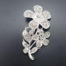 Shiny Crystal Floral Silver Flower Wedding Alloy Petal Rhinestone Brooches For Women Item No BH7238