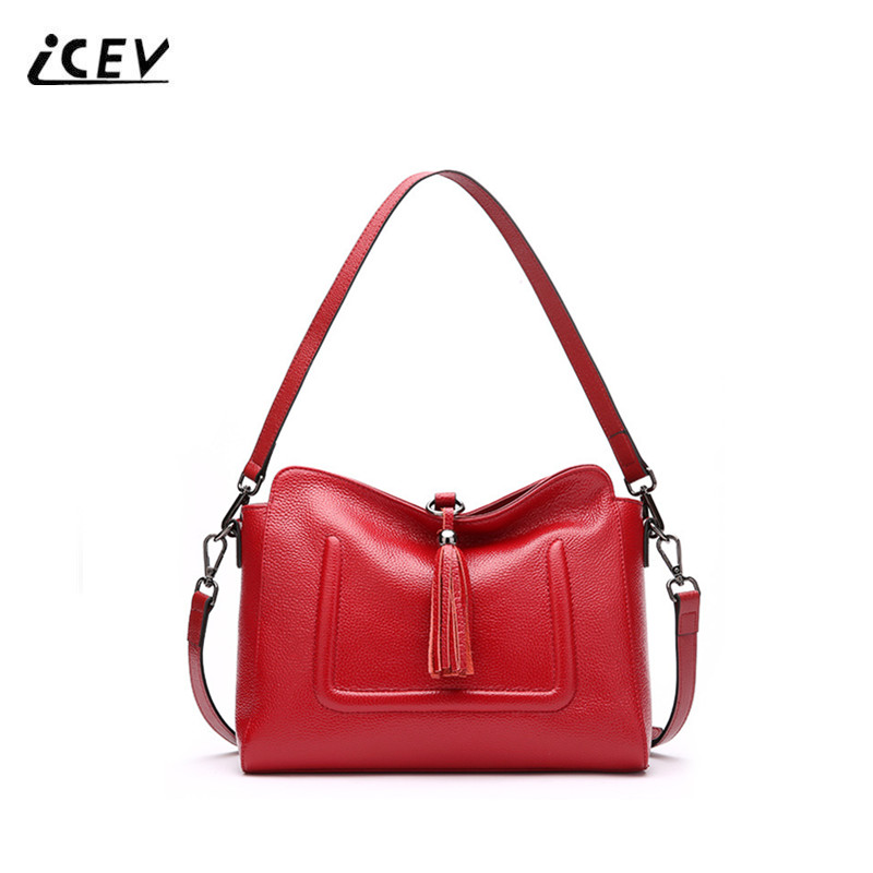 ICEV New Fashion Tassel Women Leather Handbags Genuine Leather Handbags Ladies High Quality Top Handle Bags Bolsa Feminina Sac kzni real leather tote bag high quality women leather handbags top handle bags purses and handbags bolsa feminina pochette 9057