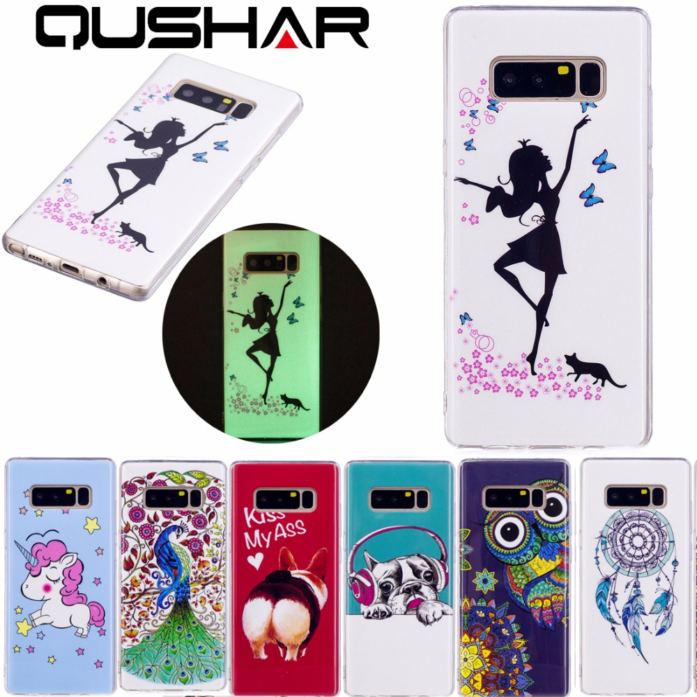 Galleria fotografica QuShar Color Cartoon Pattern Phone Case for Samsung Note 8 Soft TPU Case Slim Silicone Back Cover for Galaxy Note8 Luminous case