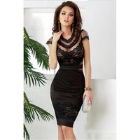 2015 New Autumn Black Sexy Banded Floral Lace Dress Cute Sheath O Neck Knee Length Midi