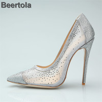 Silver So Kate Heels Women Pumps Sexy Gold Air Mesh Bride Wedding Shoes 12Cm High Heel Bling Rhinestone Womens Shoes Big Size 42