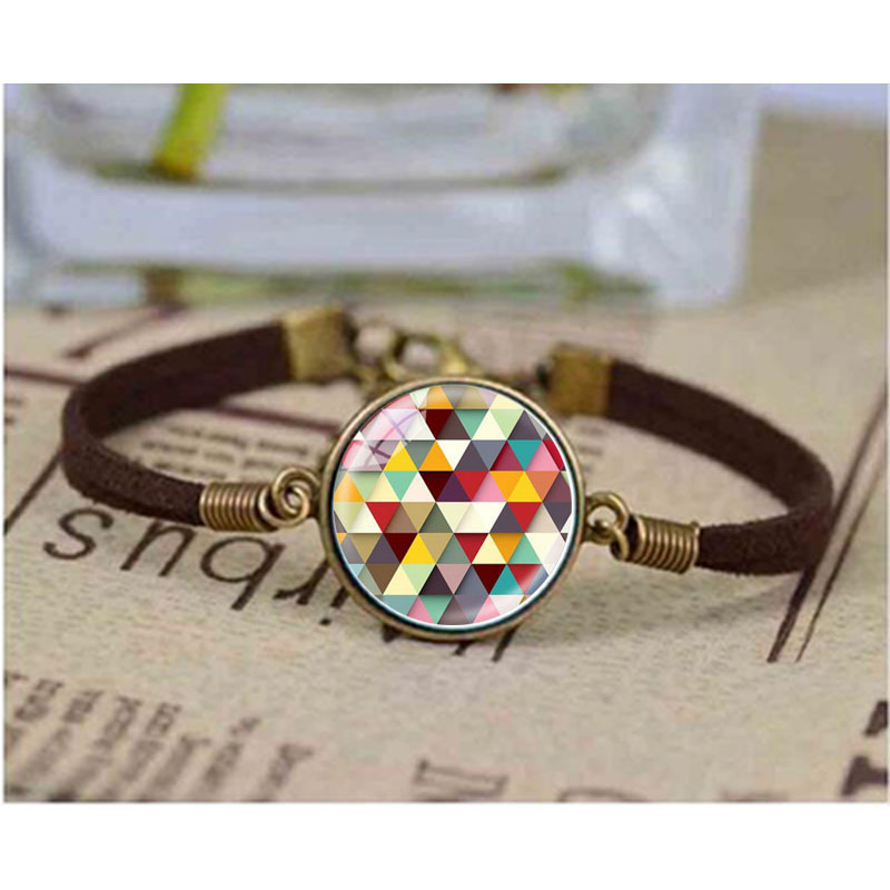 Newest Creative Geometric Mosaic bracelet Glass Cabochon bracelets Brand Jewelry For Women Men Best Friend Ship Gift