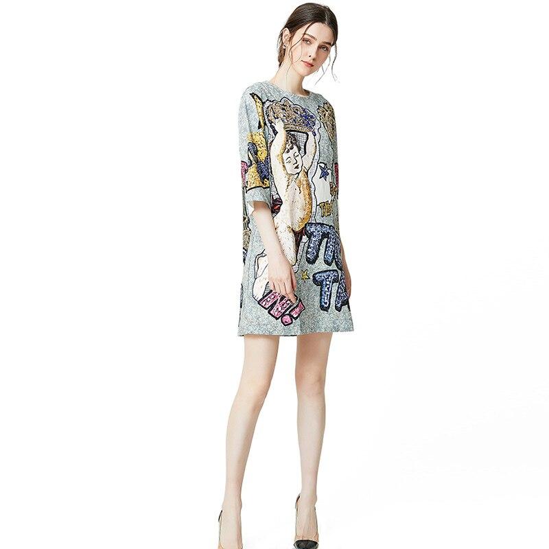 Lady Milan 2019 femmes robes de piste O cou 3/4 manches imprimé perlé mode une ligne courte robes de piste-in Robes from Mode Femme et Accessoires    3