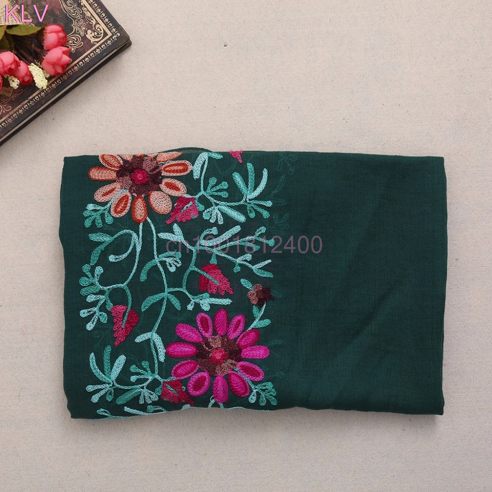 Women Shawl   Scarves   Large Embroidered Cotton Linen Floral   Scarf   Pashmina Shawl   Wrap     Scarves   W033 HOT SALE