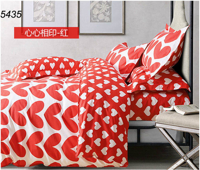 bed cover merah putih: Toko online kekasih hati merah putih singkat tidur set selimut bed