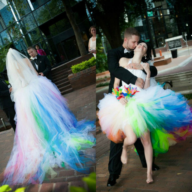 Sexy Unique Halter High Low Tulle Rainbow Colored Corset Wedding Dresses Short In Front Long Back From Weddings Events On