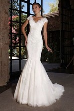 Free Shipping 2014 Mermaid V Neck Appliques Cathedral Royal Train Wedding Dress With Long Train AW408