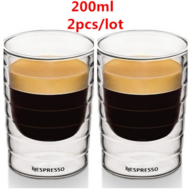 2 st ck doppelwand nestle nespresso glas tassen tassen 150ml espresso citiz lungo kapsel. Black Bedroom Furniture Sets. Home Design Ideas