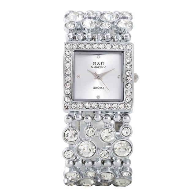 2018 Women Watches Fashion G&D Brand Luxury Gold Crystal Bracelet Watches Ladies