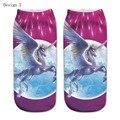 ankle socks 3D printing cute unicorn elastic short ship  for lady girl women female Unisex Wh