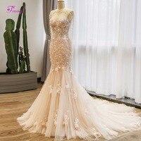 Fmogl Strapless Lace Up Long Sleeve Mermaid Bohemian Wedding Dress 2018 Graceful Appliques Trumpet Bridal Dress Vestido de Noiva