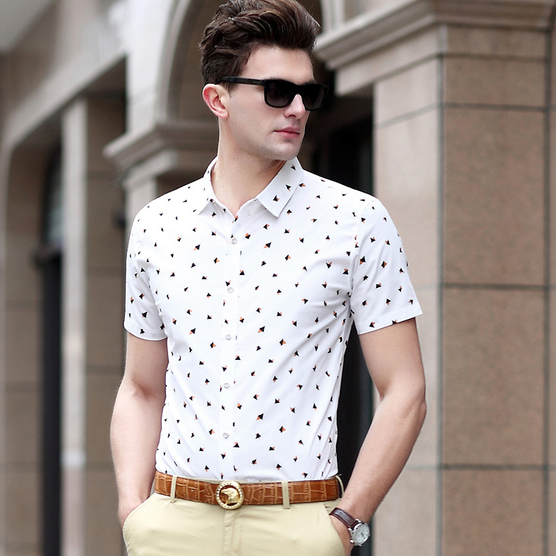 Plus Size New arrival 2018 summer mens fashion Pure cotton slim shirts short-sleeve mens tops Tees clothings 1561