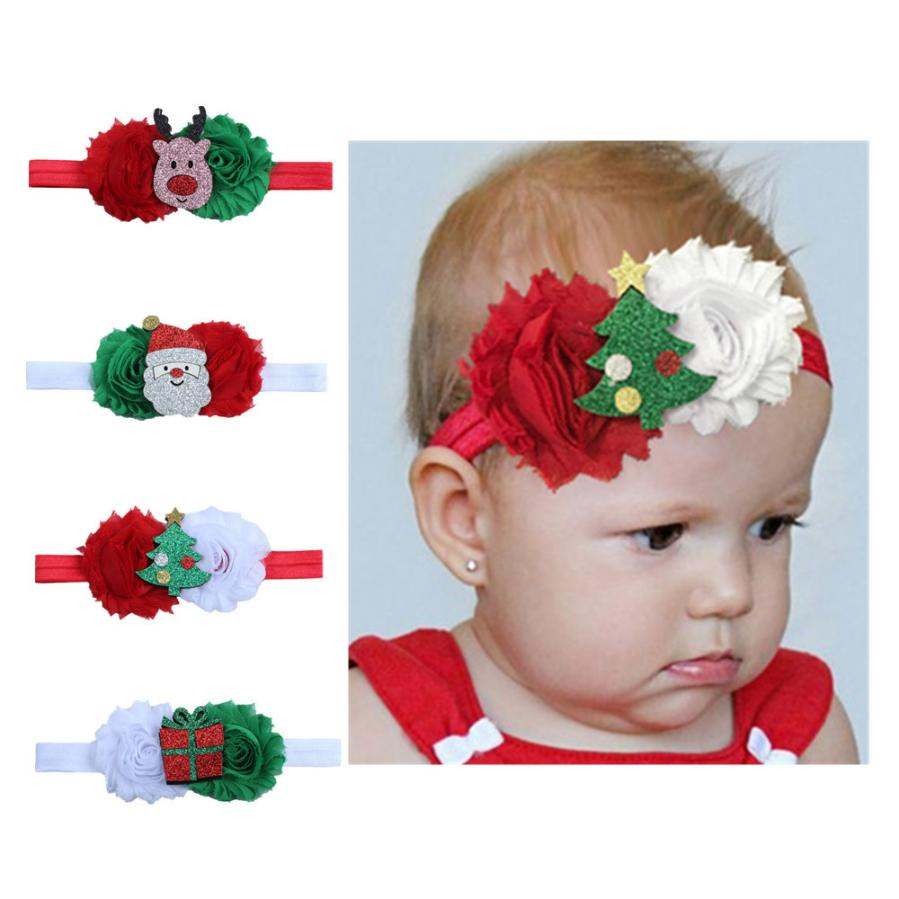 Baby Kids Elastic Floral Christmas Stretch Headband Photo Prop Gift Hairband Hair Band Accessories Headwear Christmas Hairbands