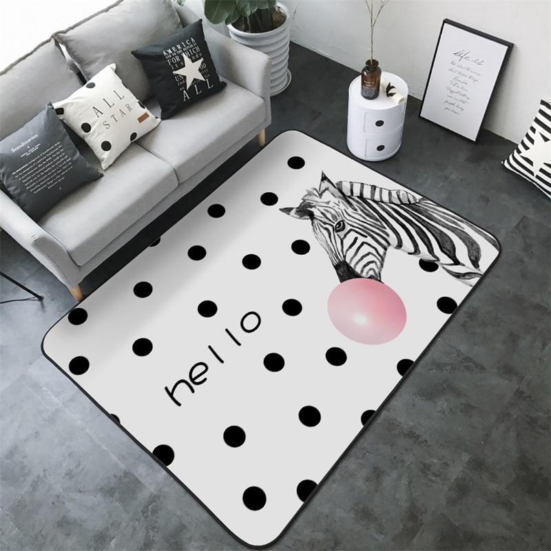 Nordic Simplicity Kids Rugs Cartoon Animals Baby Play Mat Thick Living Room Bedroom Carpet Children Room Eco-friendly Floor Mats