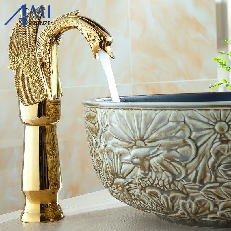 12 Золотой полированный лебедь Смесители ванная комната бассейна кран смесителя 9002 г