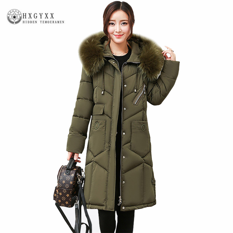 New Hooded Fur Parka Winter Down Cotton Coat Female Long Puffer Jacket Plus Size 2017 Slim Warm Outwear Woman Clothing OKA508 купить