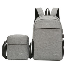 2 pcs set Mens Backpack Shoulder Bag Set USB Design Multifunction computer charging 15.6 inch Laptop