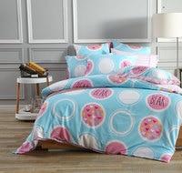 3/4pcs Comforter Bedding Set Colorful Life Donuts Heart Circle Wavy Line Duvet Cover Sheet PillowCase 100% Cotton 3 Size S/L/XL