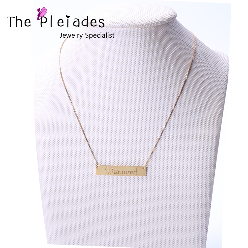 Gold Color Bar Necklace with Name Hollow Cut Customized 925 Silver Necklace with Name Engraved Personalized