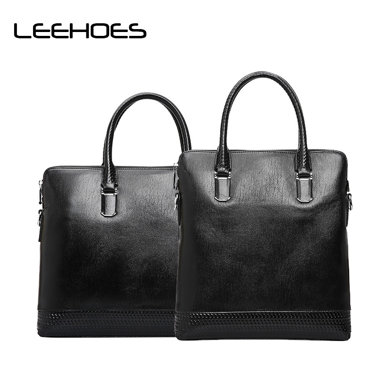 Fashion Men Bag Vintage Men Messenger Bags High Quality Soft Cowhide Leather Solid Hand Bags Black Vertical Horizontal Square iceinnight vintage men messenger bags high quality soft pu leather solid hand bags large capacity travel bags handsome man